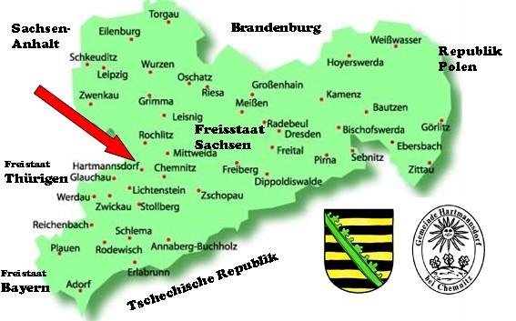 Leipzig Karte Sachsen.Lage Gemeinde Hartmannsdorf